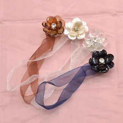 Elegant Crystal Flower Magnetic Curtain Ribbon Tieback Holdback Wrap Home Decor