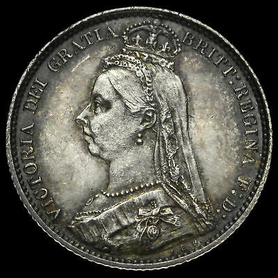 1887 Queen Victoria Jubilee Head Silver Wreath Sixpence, A/UNC
