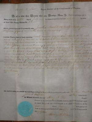 1858, Confederate Major General, Henry A. Wise, signed Virginia land grant