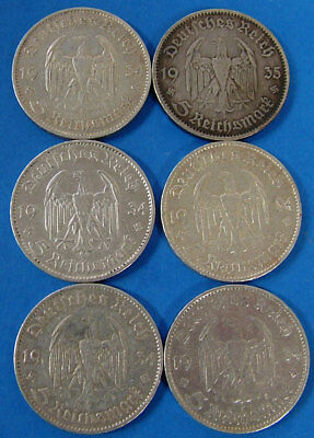 Six Piece Lot German 5 Mark  2.4 Ounces Of Pure Silver Germany Coin Mix Date