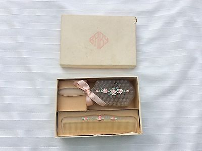 Vintage Baby Child's Hair Brush and Comb Set with Box NOS Unused.