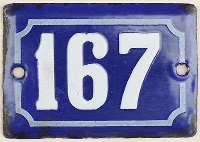 Cute old blue French house number 167 door gate plate plaque enamel steel sign