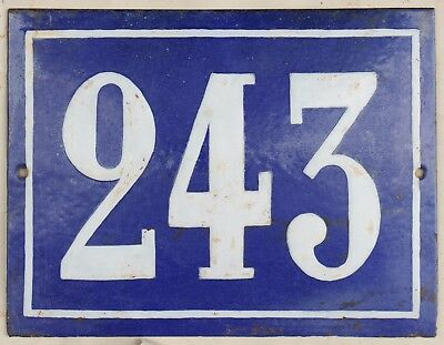 Large old French house number 243 door gate plate plaque enamel steel metal sign