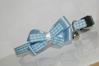Baby Blue Gingham Satin Bow Breakaway Quick Release Cat Collar