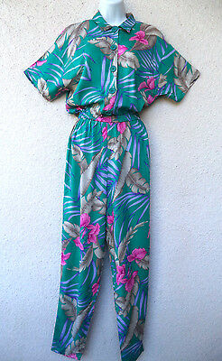 VTG 80s JUMPSUIT Tropical Hawaiian Print Button Front Rayon Op Art Palm Fronds L