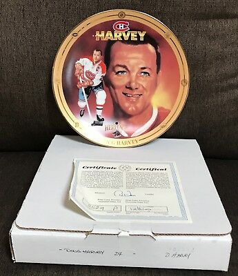 1995 Legends Of Hockey Golden Era Heritage Doug Harvey Plate W/ Coa Box Original