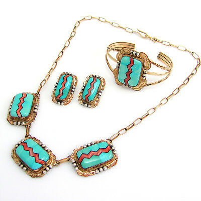 Navajo 12kgf Silver Turquoise Spiny Shell Inlay Necklace Bracelet Earrings Set G
