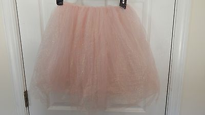 "Womens Juniors or Girls 18"" Tutu 4-Layer Sparkly Pink Reversible Dance Skirt"