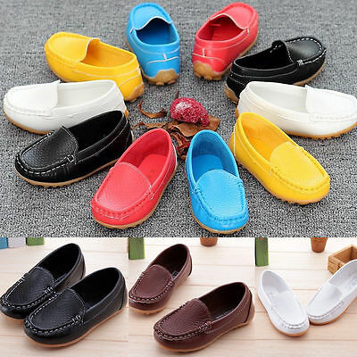 NEW Kid Boys Girls Toddler Slip On Soft Loafers Oxford Flats  PU Boat Shoes
