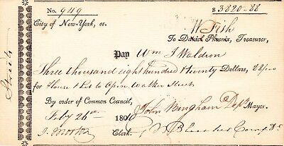 NEW YORK CITY: 1810 Check to pay for land & house to be torn down to open Street