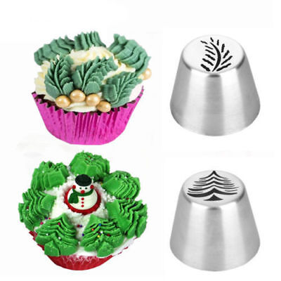 2Pcs Christmas Tree Icing Russian Piping Tip Leaf Nozzle Cake Pastry Baking Tool