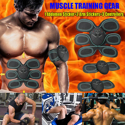 6PCS EMS Remote Control Abdominal Muscle Trainer Smart Body Building Fitness ABS