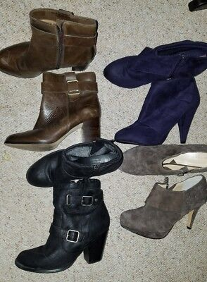 Awesome boot Lot! 4 pairs women's boots size 7.5M purple Brown taupe black