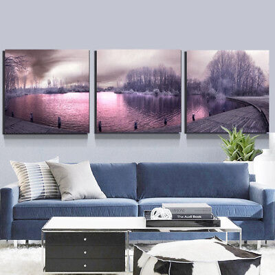 3Pcs Modern Lake Scenery Canvas Painting Picture Wall Art Home Bedroom Decor