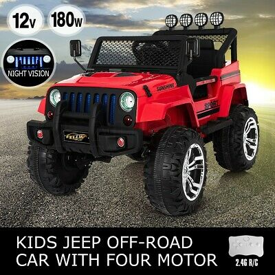 Electric Ride on Jeep Remote Control Off Road Kids Car w/ Built-in Songs - Red