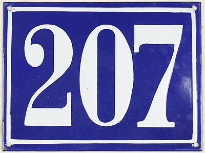 Large old blue French house number 207 door gate plate plaque enamel steel sign