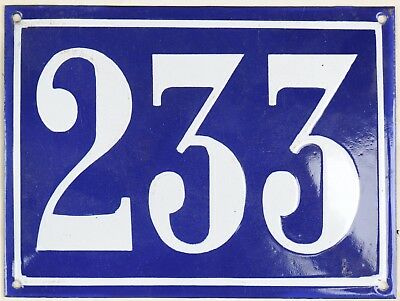 Large old French house number 233 door gate plate plaque enamel steel metal sign