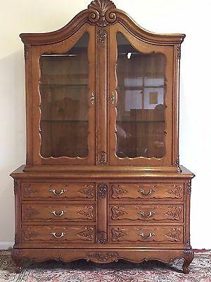 Stunning French Carved Oak Vitrine/cabinet/drawers