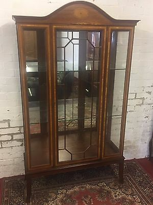 Outstanding Inlaid Mahogany Glazed Display Cabinet