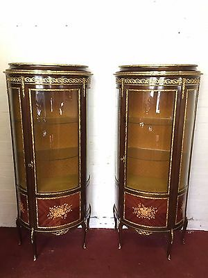 Stunning Pair Of Louis Xv  Bow Front Vitrines/cabinets