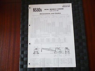 Neal Mobile Crane Strut Jib Ns80S Dimensions/duties Spec 3503/57 Leaflet *read*