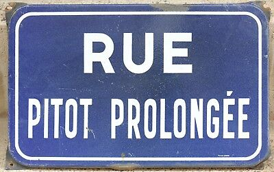 Old French enamel street sign road plaque rue Pitot Prolongée, Nimes - engineer