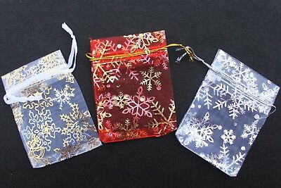 20 X Christmas Snowflake Organza Bags Small 7Cm X 9Cm / Red, White,gold