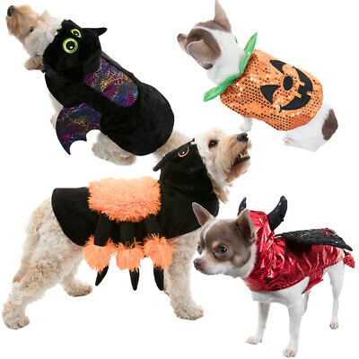 Spooky Pets Fancy Dress Halloween Dog Coat Costumes Spider Devil Pumpkin Bat