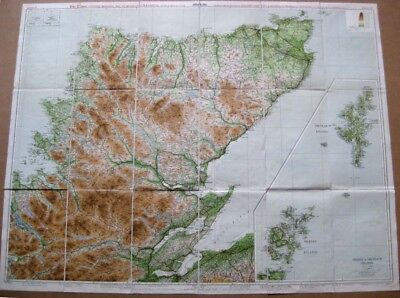The Times Contour Road Map on Linen of Northern Scotland inc Shetland and Orkney
