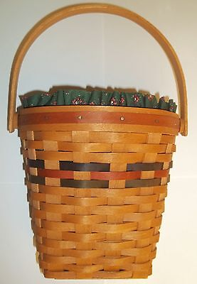 Longaberger Basket With Protector & Fabric Liner 1993