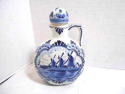 Blue Delfts Holland Windmill Jug Vase with Cork Lid Hand Painted 1249