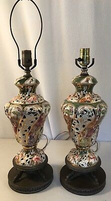 "27 X 7"" Capodimonte Porcelain Pair Antique Table Lamps green yellow pink nymphs"