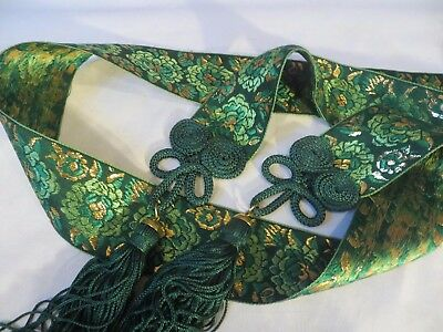 Vintage 70s Green Satin Belt Metallic Embroidery w Tassle