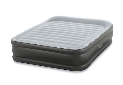 Intex Queen Deluxe Pillow Rest Fiber-Tech Airbed Raised Air Mattress with Pump