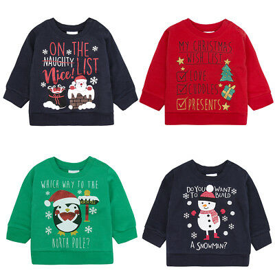 Babies Christmas Festive Sweaters Jumpers Four Styles 6-9 9-12 12-18 and 18-24M