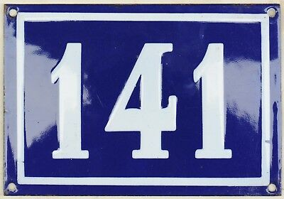 Large old French house number 141 door gate plate plaque enamel steel metal sign