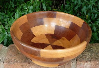 VINTAGE RETRO 1970s MIXED WOOD HARLEQUIN WOODEN BOWL FRUIT NUTS * PARTY TABLE