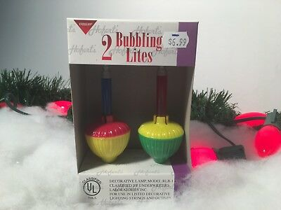 New 2 Bubble Light Replacement Red/blue C7 Size Candelabra Base Bulb