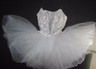 NWT White graduated tutu costume crushed white velvet silver sequin inset int.CH