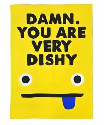 Jolly Awesome DAMN You Are VERY DISHY TEA TOWEL Cotton SMILEY FACE