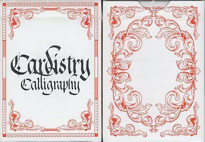 Cardistry Calligraphy Red Playing Cards Poker Size Deck by Bomb Magic Limited