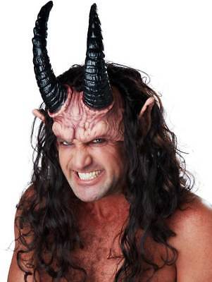 Adult Men Devious Demon Half Halloween Mask Hair Horns Ears Perfect Set Demon