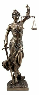 Bronzed Resin Greek Goddess Lady Of Justice Statue La Justicia Dike Figurine