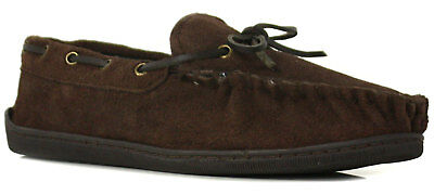 New Mens/Gents Brown Suede Leather Moccasin Slippers UK SIZES