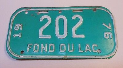 Vintage Wisconsin 1976 Fond Du Lac Bicycle License Plate