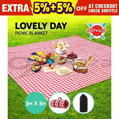 3m x 3m Extra Large Picnic Blanket Outdoor Mat Camping Waterproof Red White