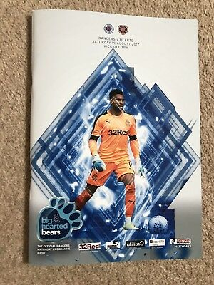 Rangers v Hearts August 19th 2017 Mint Official Programme @ Ibrox