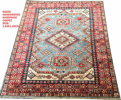 "Oriental Carpet, Hand Knotted VEG DYED  Super Kazak 100% Wool  192x149cm""NEW"""""