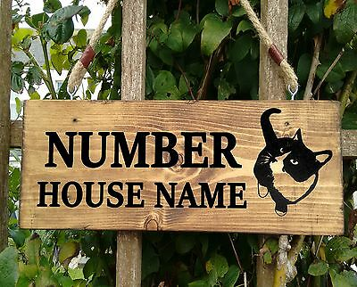 Personalised Cat House Name Plaque Signs Wooden - Solid Wood Porch Conservatory