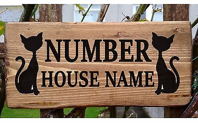 Cat House Name Sign Plate Plaque Personalised Wooden Wood Porch Conservatory new